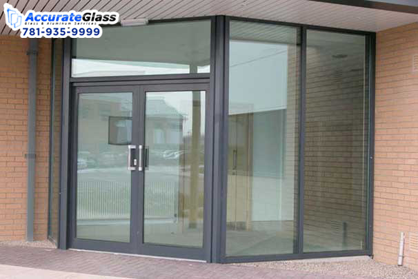 Decorative frameless glass entrance doors